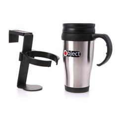 OBJECT STAINLESS STEEL TRAVEL MUG WITH HOLDER