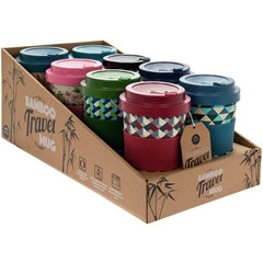 BAMBOO TRAVEL MUGS 4 ASSORTED  350ML