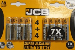 JCB AA 4+4 PACK LR6 BATTERIES